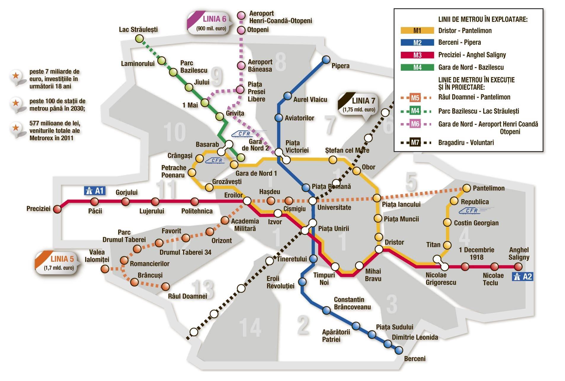 Harta Metrou Bucuresti 2020